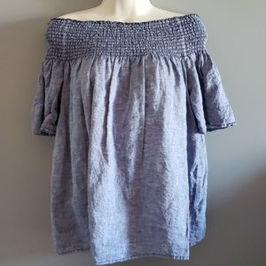 C&C California linen chambray off shoulder to